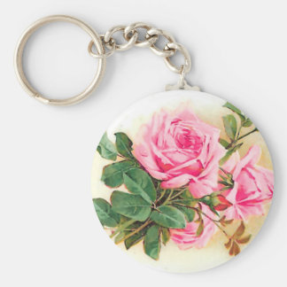 Romantic Pink Roses Personalized Basic Round Button Keychain