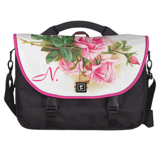 Romantic Pink Roses Personalized Laptop Computer Bag