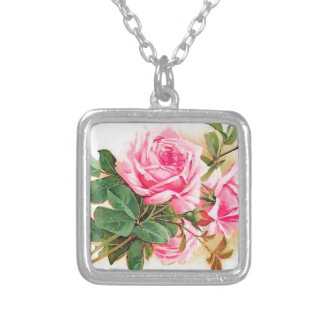 Romantic Pink Roses Personalized Square Pendant Necklace