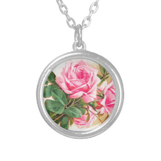Romantic Pink Roses Personalized Round Pendant Necklace