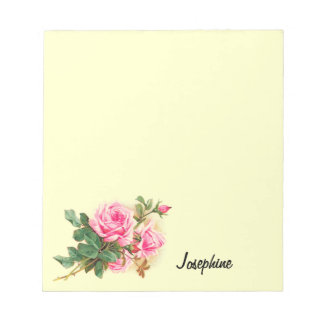 Romantic Pink Roses Personalized Note Pad