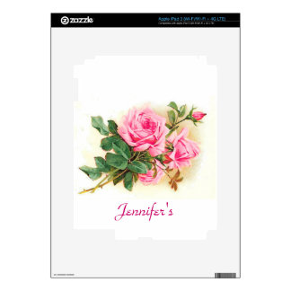 Romantic Pink Roses Personalized Decals For iPad 3