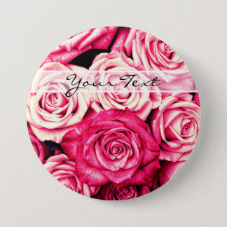 Romantic Pink Roses Pinback Button