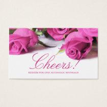 Romantic Pink Roses Wedding Drink Ticket