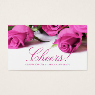 Romantic Pink Roses Wedding Drink Ticket