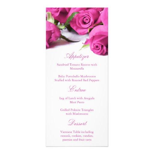 Romantic Pink Roses Wedding Menu Customized Rack Card
