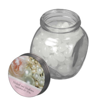 Romantic Pink Tea Rose and Pearls Jelly Belly Candy Jar