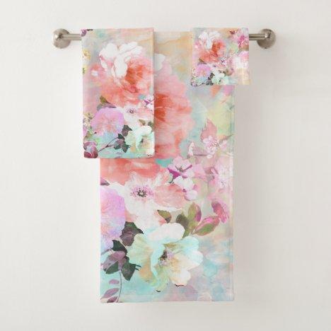 Romantic Pink Teal Watercolor Chic Floral Pattern Bath Towel Set