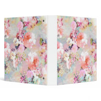 Romantic Pink Teal Watercolor Chic Floral Pattern Binder