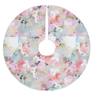 Romantic Pink Teal Watercolor Chic Floral Pattern Brushed Polyester Tree Skirt