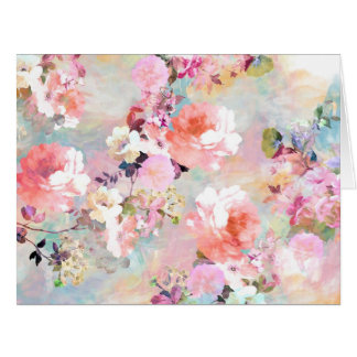 Romantic Pink Teal Watercolor Chic Floral Pattern Card