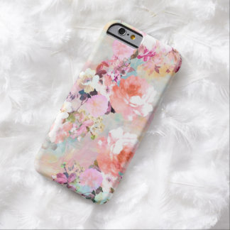 Romantic Pink Teal Watercolor Chic Floral Pattern Barely There iPhone 6 Case