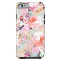 Romantic Pink Teal Watercolor Chic Floral Pattern Tough iPhone 6 Case