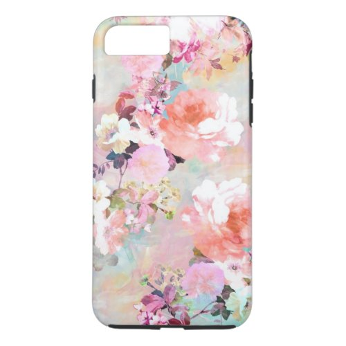 Romantic Pink Teal Watercolor Chic Floral Pattern Phone Case