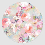 """Romantic Pink Teal Watercolor Chic Floral Pattern Classic Round Sticker<br><div class=""""desc"""">Romantic Pink Teal Watercolor Chic Floral Pattern . a girly, elegant and chic floral pattern featuring beautiful and preppy vintage victorian roses and peonies in light pink and orchid purple on a modern and abstract pink and teal pastel watercolor strokes pattern . perfect feminine gift for the flower and nature...</div>"""