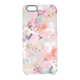 Romantic Pink Teal Watercolor Chic Floral Pattern Clear iPhone 6/6S Case