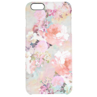 Romantic Pink Teal Watercolor Chic Floral Pattern Clear iPhone 6 Plus Case