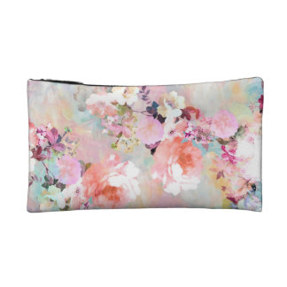 Romantic Pink Teal Watercolor Chic Floral Pattern Cosmetic Bags