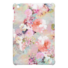 Romantic Pink Teal Watercolor Chic Floral Pattern Cover For The Ipad Mini at Zazzle