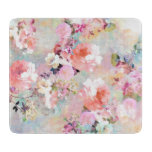 Romantic Pink Teal Watercolor Chic Floral Pattern Cutting Board