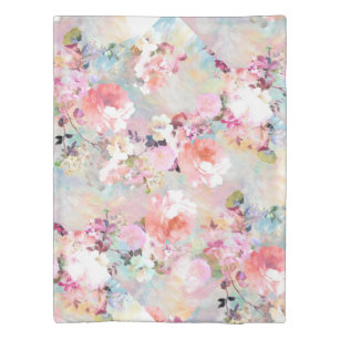 Romantic Pink Teal Watercolor Chic Floral Pattern Duvet Cover