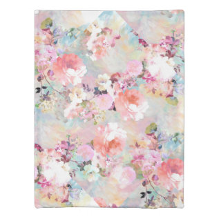 Romantic Pink Teal Watercolor Chic Floral Pattern Duvet Cover at Zazzle