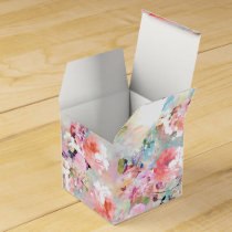 Romantic Pink Teal Watercolor Chic Floral Pattern Favor Box