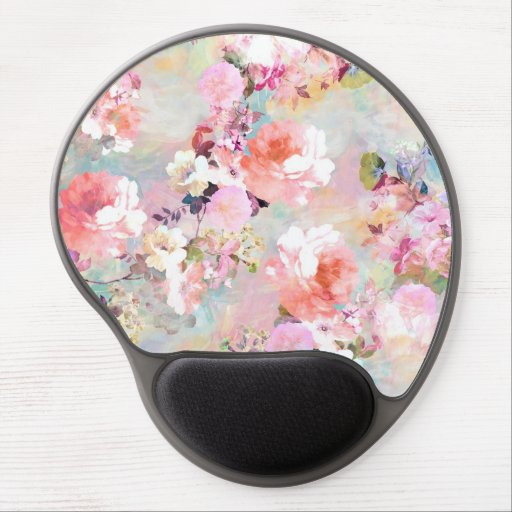 Romantic Pink Teal Watercolor Chic Floral Pattern Gel Mousepad