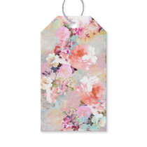Romantic Pink Teal Watercolor Chic Floral Pattern Gift Tags