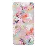 Romantic Pink Teal Watercolor Chic Floral Pattern Glossy iPhone 6 Case