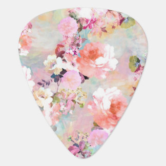 Romantic Pink Teal Watercolor Chic Floral Pattern Guitar Pick
