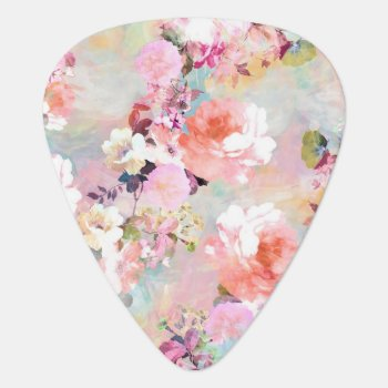 Romantic Pink Teal Watercolor Chic Floral Pattern Guitar Pick by girly_trend at Zazzle