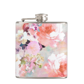 Romantic Pink Teal Watercolor Chic Floral Pattern Hip Flask