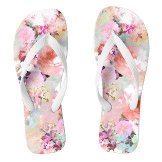 Romantic Pink Teal Watercolor Chic Floral Pattern Flip Flops
