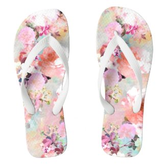 Romantic Pink Teal Watercolor Chic Floral Pattern Flip Flops