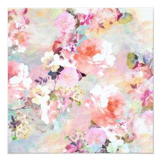 """Romantic Pink Teal Watercolor Chic Floral Pattern 5.25"""" Square Invitation Card"""