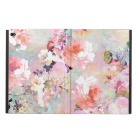 Romantic Pink Teal Watercolor Chic Floral Pattern Powis iPad Air 2 Case