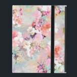 """Romantic Pink Teal Watercolor Chic Floral Pattern iPad Cover<br><div class=""""desc"""">Romantic Pink Teal Watercolor Chic Floral Pattern . a girly, elegant and chic floral pattern featuring beautiful and preppy vintage victorian roses and peonies in light pink and orchid purple on a modern and abstract pink and teal pastel watercolor strokes pattern . perfect feminine gift for the flower and nature...</div>"""