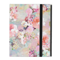 Romantic Pink Teal Watercolor Chic Floral Pattern iPad Folio Case