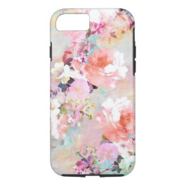 Romantic Pink Teal Watercolor Chic Floral Pattern iPhone 7 Case