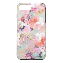 Romantic Pink Teal Watercolor Chic Floral Pattern iPhone 7 Plus Case