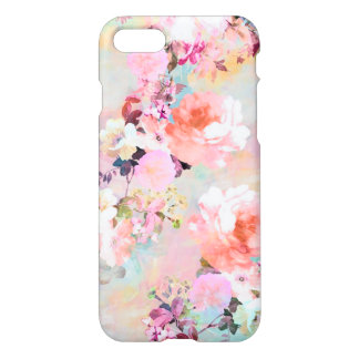 Romantic Pink Teal Watercolor Chic Floral Pattern iPhone 8/7 Case