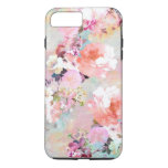 Romantic Pink Teal Watercolor Chic Floral Pattern iPhone 8 Plus/7 Plus Case