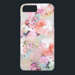 "Romantic Pink Teal Watercolor Chic Floral Pattern iPhone 8 Plus/7 Plus Case<br><div class=""desc"">Romantic Pink Teal Watercolor Chic Floral Pattern . a girly, elegant and chic floral pattern featuring beautiful and preppy vintage victorian roses and peonies in light pink and orchid purple on a modern and abstract pink and teal pastel watercolor strokes pattern . perfect feminine gift for the flower and nature...</div>"