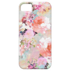 Romantic Pink Teal Watercolor Chic Floral Pattern Iphone Se/5/5s Case at Zazzle