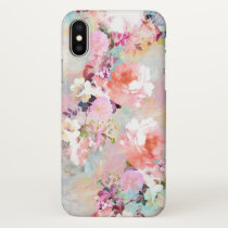 Romantic Pink Teal Watercolor Chic Floral Pattern iPhone X Case