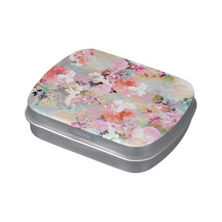 Romantic Pink Teal Watercolor Chic Floral Pattern Jelly Belly Tins