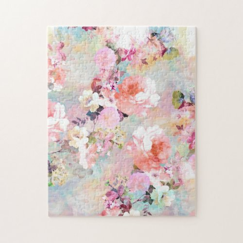 Romantic Pink Teal Watercolor Chic Floral Pattern Jigsaw Puzzle