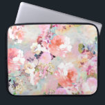 """Romantic Pink Teal Watercolor Chic Floral Pattern Laptop Sleeve<br><div class=""""desc"""">Romantic Pink Teal Watercolor Chic Floral Pattern . a girly, elegant and chic floral pattern featuring beautiful and preppy vintage victorian roses and peonies in light pink and orchid purple on a modern and abstract pink and teal pastel watercolor strokes pattern . perfect feminine gift for the flower and nature...</div>"""