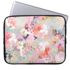 Romantic Pink Teal Watercolor Chic Floral Pattern Laptop Sleeve at Zazzle
